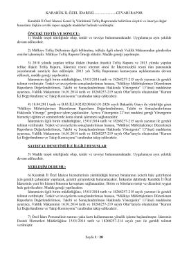Teftiş Raporu Cevabı - TC Karabük İl Özel İdaresi