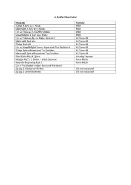 4. Sınıflar Kitap Listesi Kitap Adı Yayınevi Türkçe 4. Sınıf Ders Kitabı