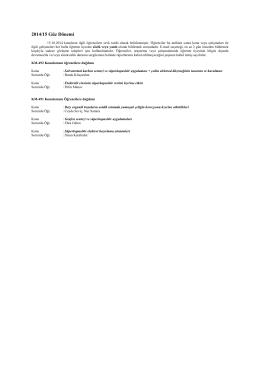 2014-15 Güz Dönemi Araştırma Konuları