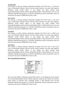 MARMARİS Ekte bulunan ve Marmaris Belediye Başkanlığı