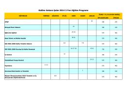 KalDer Ankara Şube 2014 2.Yarı Eğitim Programı