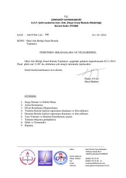 T.C. ÇERKEZKÖY KAYMAKAMLIĞI G.O.P. Şehit Jandarma Uzm