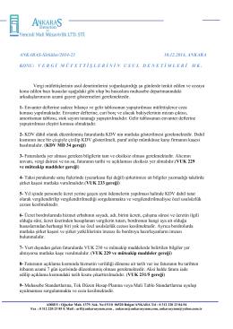 Sirküler 2014-23 VERGİ MÜFETTİŞLERİNİN USUL DENETİMLERİ Hk