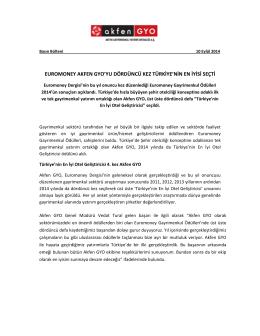 Akfen GYO Euromoney Ödülleri Basın Bülteni 10.09.2014