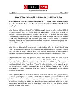 Akfen GYO Finansal Sonuçlar Basın Bülteni Kasim 2014