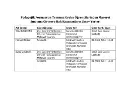 Pedagojik Formasyon Temmuz Grubu Öğrencilerinden Mazeret