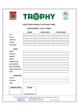 dosd trophy mahalli off-road yarışı idari kontrol / kayıt formu