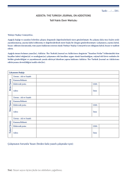 Telif Devir Mektubu (PDF) - Addicta