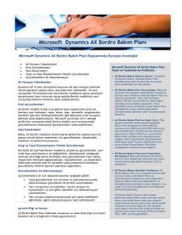 Microsoft Dynamics AX Bordro Bakım Planı