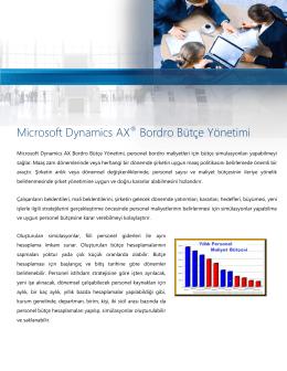 Microsoft Dynamics AX® Bordro Bütçe Yönetimi