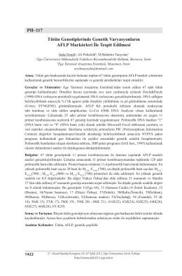 PH–117 Tütün Genotiplerinde Genetik Varyasyonların AFLP
