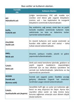 Bazı asitler ve kullanım alanları.