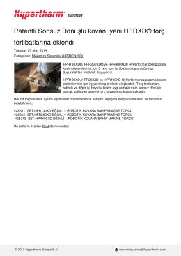 Patentli Sonsuz Dönüşlü kovan, yeni HPRXD® torç