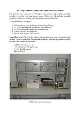 CBÜ Elektrik-Elektronik Mühendisliği Analog Haberleşme Deneyleri