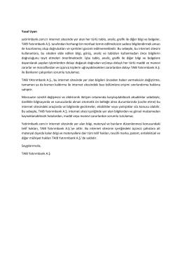 Yasal Uyarı yatirimbank.com.tr internet sitesinde yer alan her türlü