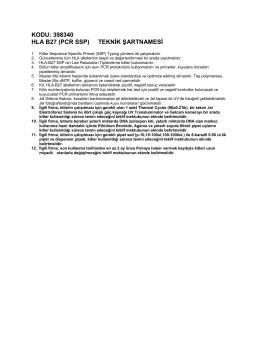 KODU: 398340 HLA B27 (PCR SSP) TEKNİK ŞARTNAMESİ