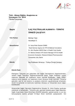 İlaç Politikaları Almanya - Türkiye Örneği Çalıştayı