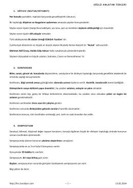 SÖZLÜ ANLATIM TÜRLERİ http://hrc.karaliyor.com ~ 1 ~ 13.02.2014