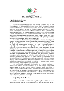 2014-‐2015 Eğitim Yılı Mesajı - Kocaeli Üniversitesi Tıp Fakültesi