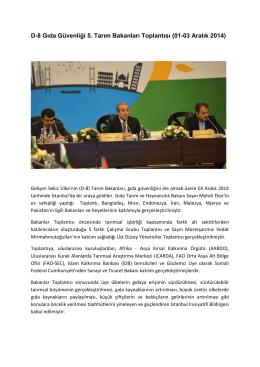 D-8 Gıda Güvenliği 5. Tarım Bakanları Toplantısı (01