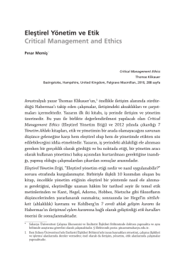 Eleştirel Yönetim ve Etik Critical Management and