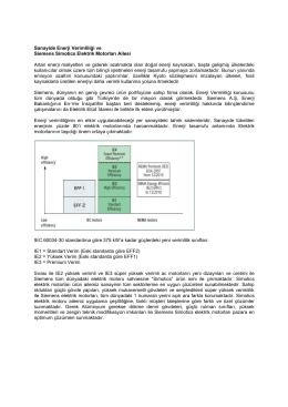 Sanayide Enerji Verimliliği ve Siemens Simotics Elektrik Motorları
