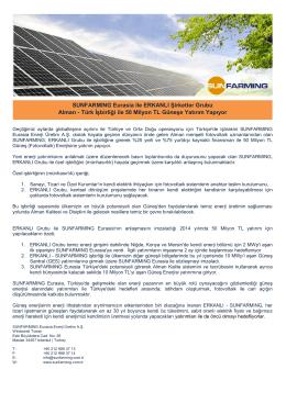 Türk İşbirliği ile 50 Milyon TL Güneşe Yatırım Yapıyor