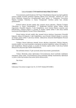 akademik ilan - Galatasaray Üniversitesi