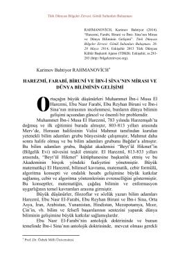 Karimov Bahtiyor RAHMANOVİCH HAREZMİ