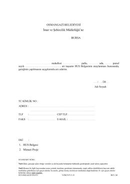 hus belgesi onayı - Osmangazi Belediyesi