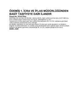 ödemiş 1. icra ve iflas müdürlüğünden basit tasfiyeye dair ilandır