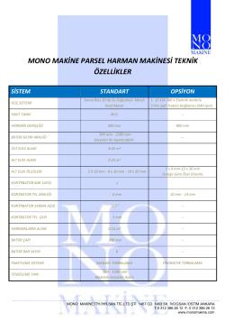 mono makine parsel harman makinesi teknik özellikler sistem