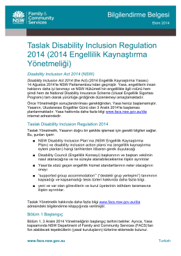 Disability Inclusion Regulation 2014 Fact sheet - Turkish
