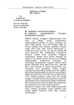 İlgili Kanun / Madde 4857 S.İşK/32 T.C YARGITAY 9. HUKUK