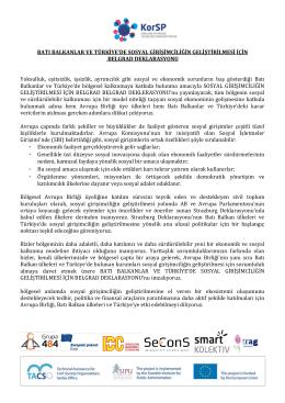 Belgrad Deklarasyonu (Türkçe Çeviri)