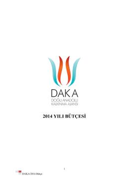 DAKA 2014 Yılı Bütçe - Doğu Anadolu Kalkınma Ajansı