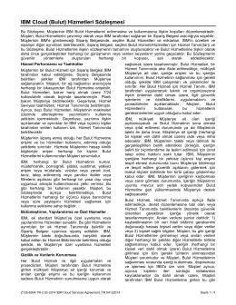 IBM Cloud (Bulut) Hizmetleri Sözleşmesi