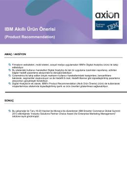 IBM Akıllı Ürün Önerisi (Product Recommendation)