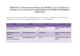 Ceza Hukuku Genel Hükümler-II, HKUK423- Ceza Usul Hukuku