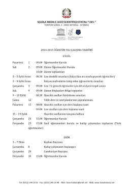 2014-2015 Takvim - Liceo Italiano IMI
