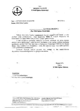 İlçe Milli Eğitim Müdürlüğü Yazısı - tarsus ilçe millî eğitim müdürlüğü