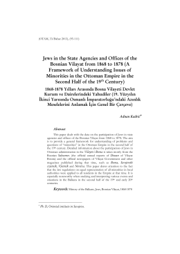 Jews in the State Agencies and Offices of the Bosnian Vilayat from
