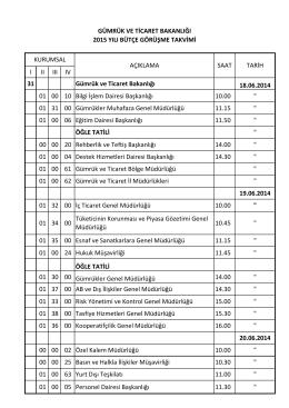 Bakanlığımız Birimler Bazında Bütçe Görüşmeleri Programını