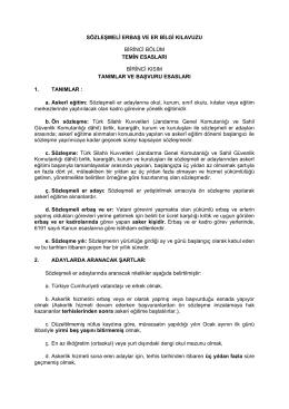 sözleşmeli erbaş ve er bilgi kılavuzu birinci bölüm temin esasları