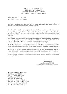 12.11.2014 Tarihli 31 nolu Bölüm Kurulu Kararları