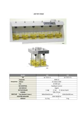 Jar Test Cihazı kataloğunu PDF olarak indirmek
