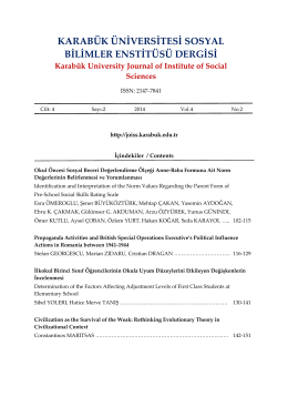 İçindekiler - Karabuk University Journal of Institute of Social Sciences