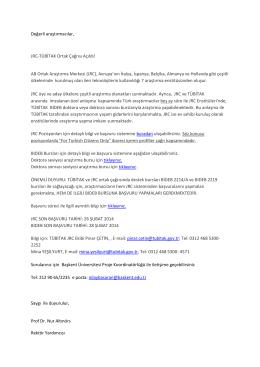 JRC (Ortak Araştırma Merkezi)-TÜBİTAK Ortak Çağrısı Açıldı!