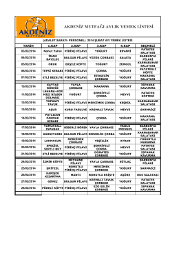 akdeniz mutfağı aylık yemek listesi