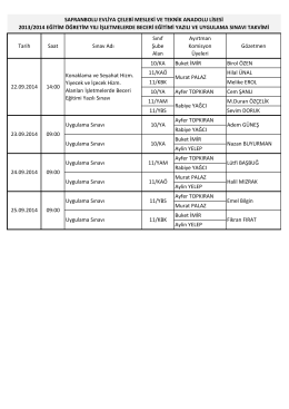22-25 Eylül Beceri Sınavı Görev Listesi